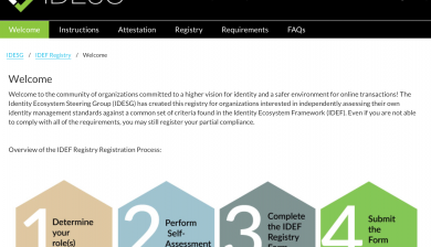 IDEF Registry Screen shot