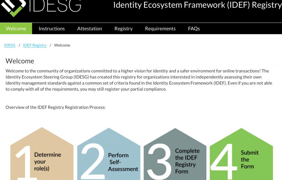 IDEF Registry Screen shot