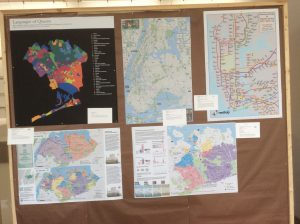 Five maps with placards at Map Mosaic: From Queens to the World, Queens Museum, NY