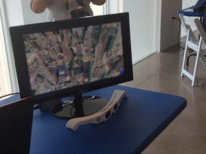 Interactive map station with 3D glasses at Map Mosaic: From Queens to the World, Queens Museum, NY