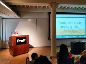 Noreen Whysel addressing the 2017 Initiation Class of Beta Phi Mu Theta at Pratt Institute School of Information